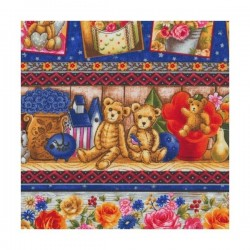 Patchwork fabric FABRI-QUILT - Buddy Bears 22241 - Cutting 50 x 55 cm